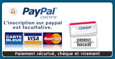 paiement paypal, CB, Chèque, virement