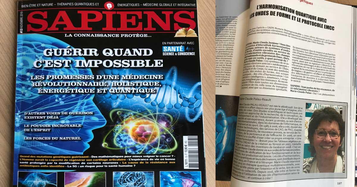Harmonisation quantique avec les ondes de formes - article SAPEINS Nov 2019